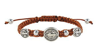 Brown St. Benedict Trinity Medals Bracelet - 12/pk