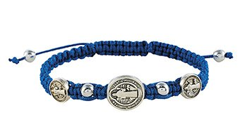 Blue St. Benedict Trinity Medals Bracelet - 12/pk