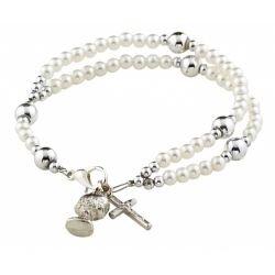 White Imit. Pearl First Communion Rosary Bracelet - 12/pk