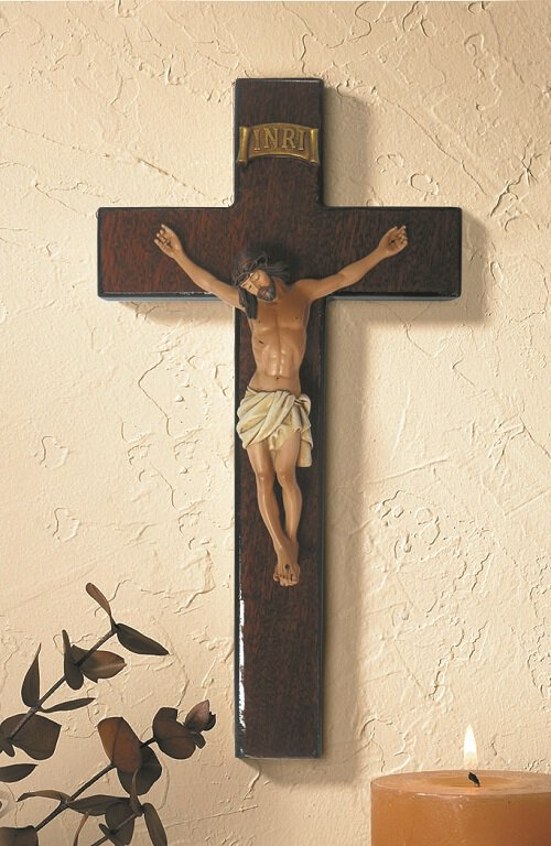 "8"" Mahogany Burlwood Crucifix"