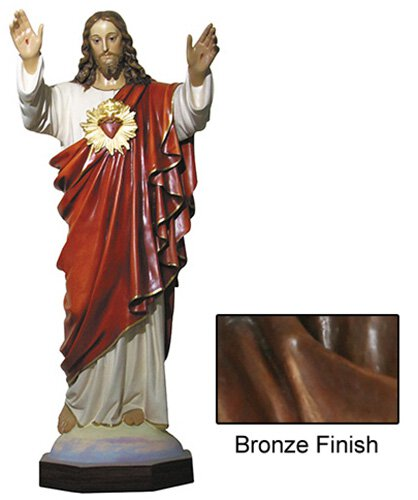 "64"" Sacred Heart Statue - Bronze"