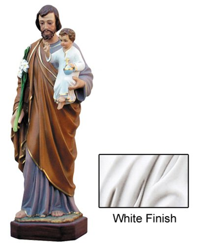St Joseph with Child Statue - White