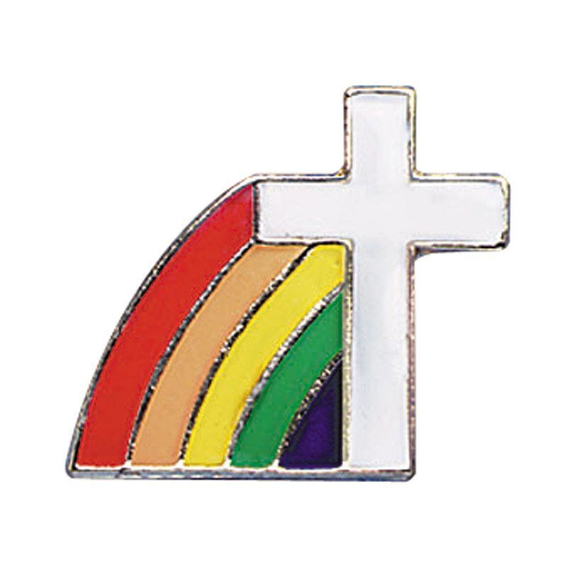 Rainbow Cross Lapel Pin - 25/pk
