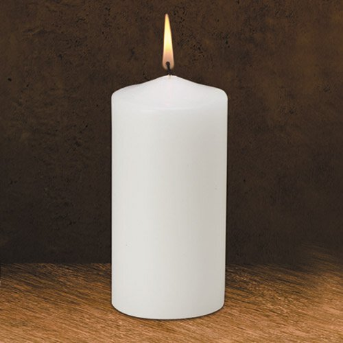 "6"" Traditional White Pillar Candle"