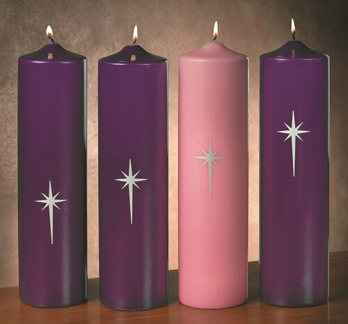 Star of Bethlehem Advent Pillar Candle Set