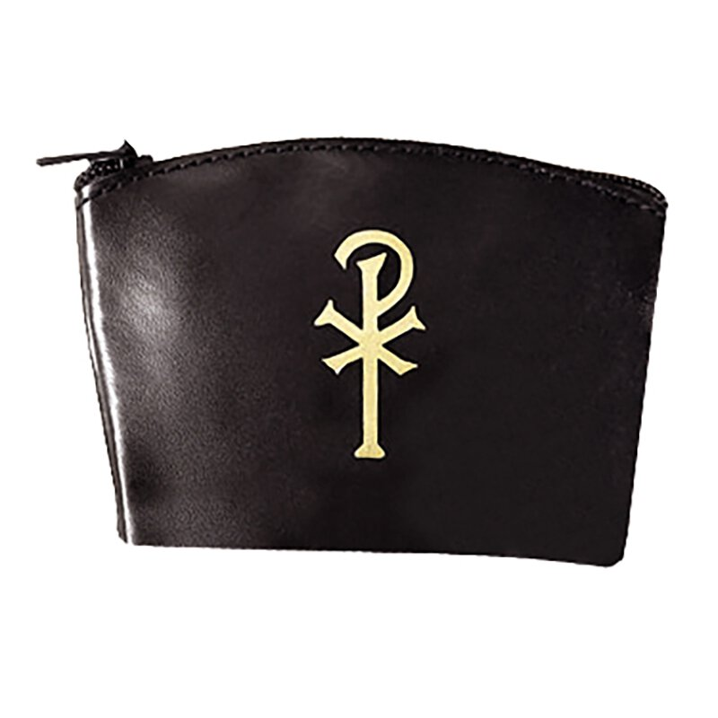 Chi Rho Zippered Rosary Case - Black - 12/pk