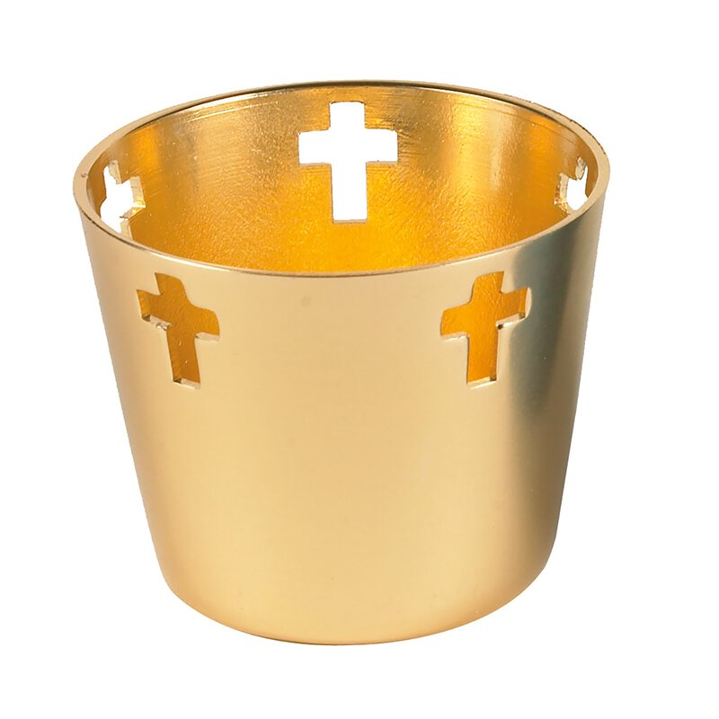 10Hr Tealight Aluminum Holder Gold - 12/cs