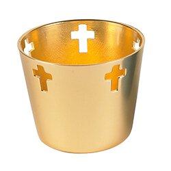 10Hr Tealight Aluminum Holder Gold - 12/cs