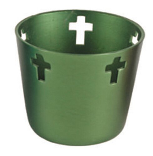 10 Hr Anodized Aluminum Votive Holders - Green
