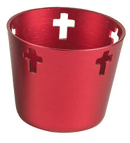 10 Hr Anodized Aluminum Votive Holders - Red 12/cs
