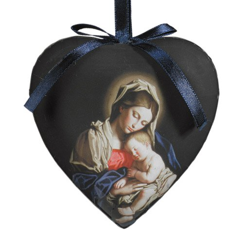 Madonna and Child Heart Shaped Decoupage Ornament - 6/pk