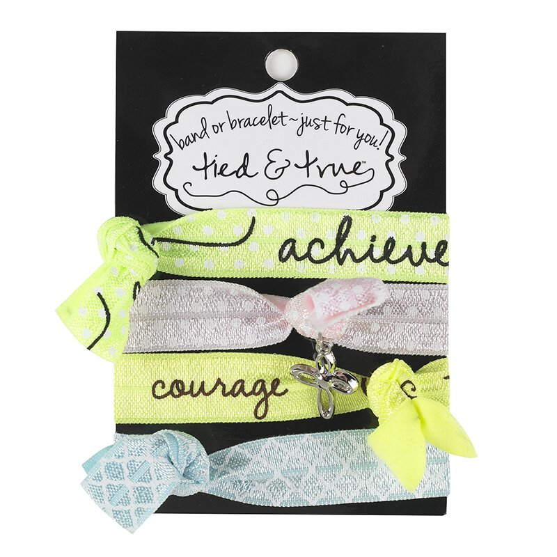 Hair Tie Bracelets - Achieve/Courage with Cross Dangle - 6/pk