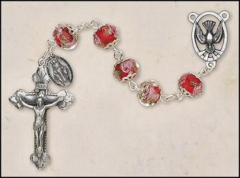 Floral Capped Bead Confirmation Rosary