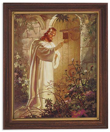 Sallman: Christ at Heart's Door Framed Print - Wood Tone