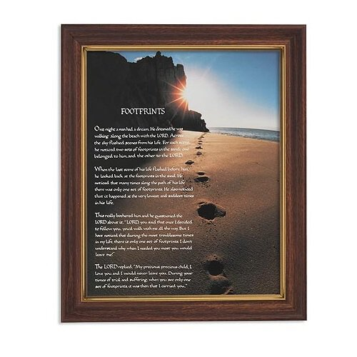Footprints Framed Print - Wood Tone