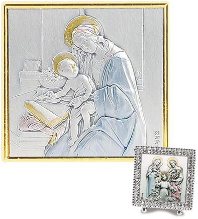 Madonna and Child Square Silver Crystal Frame
