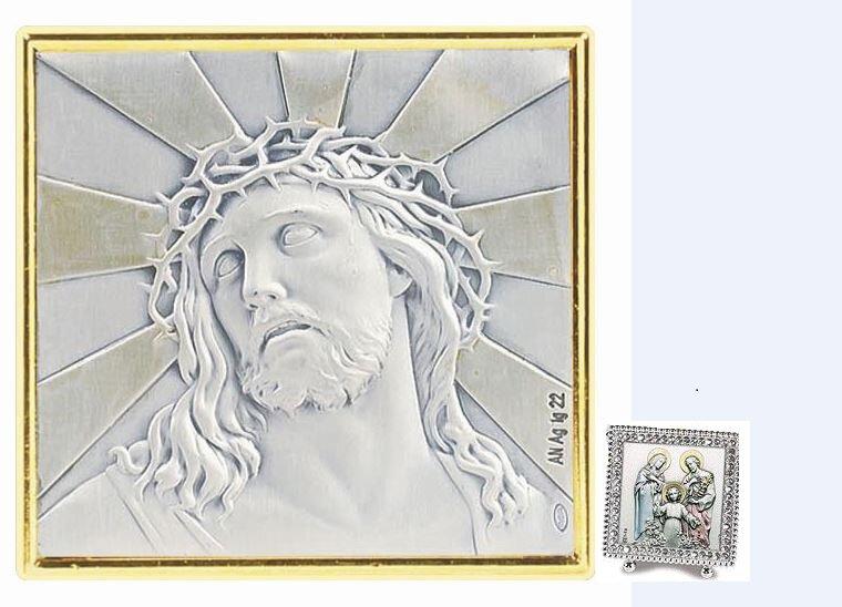 Ecce Homo Square Silver Crystal Frame