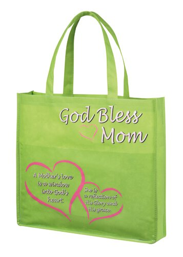 God Bless Mom Tote Bag with Pocket - 12/pk