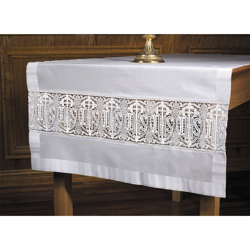 Latin Cross and IHS Lace Altar Frontal