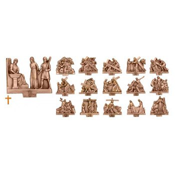 Engraved Bronze Stations of The Cross - Set of 16