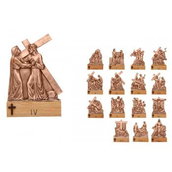 Cast Bronze Stations of The Cross with Base - Set of 16
