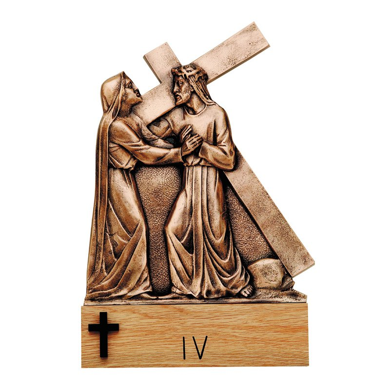Cast Bronze Stations of The Cross with Base - Set of 14