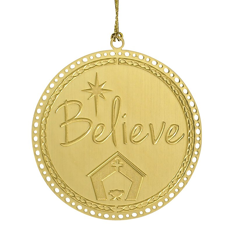 Believe Brass Ornament - 24/pk