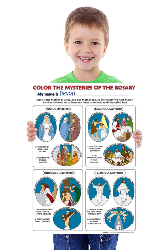 Color Your Own Poster - Color the Mysteries of the Rosary - 50/pk