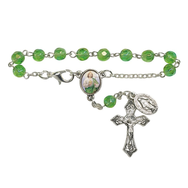 St. Jude Faceted Glass Auto Rosary - 12/pk