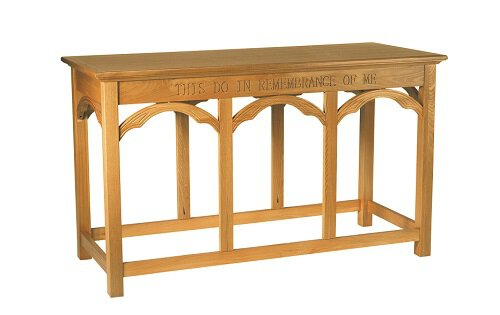 "54"" Communion Table - Medium Oak Stain"