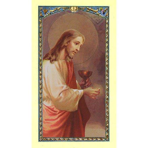 Christ Eucharist Laminated Holy Card - 25/pk