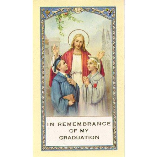Christ with Graduates Laminated Holy Card - 25/pk