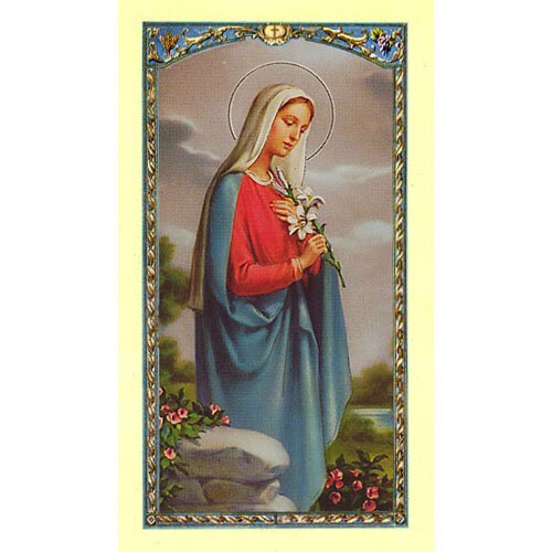 Madonna with Lillies Holy Card