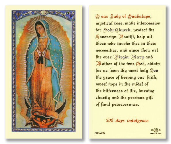 Prayer to Our Lady of Guadalupe Holy Card