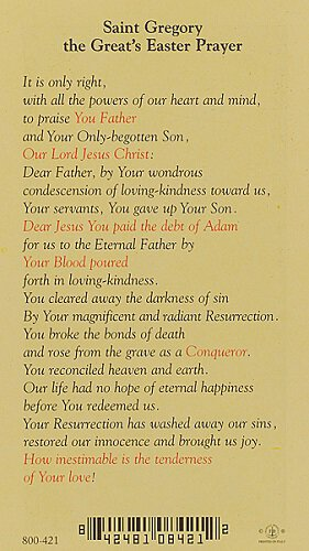 Saint Gregory the Great's Easter Prayer Holy Card - 25/pk