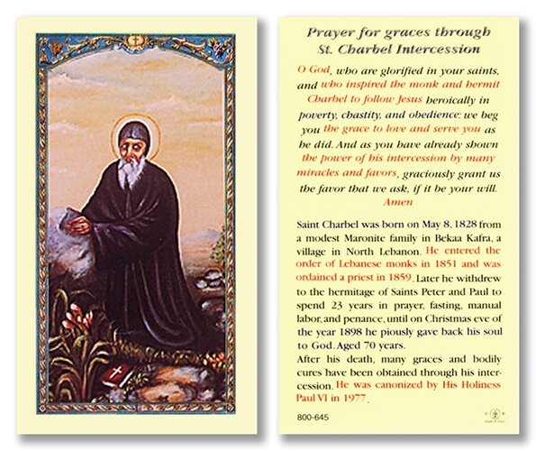 Prayer for Graces Through Saint Charbel Holy Card