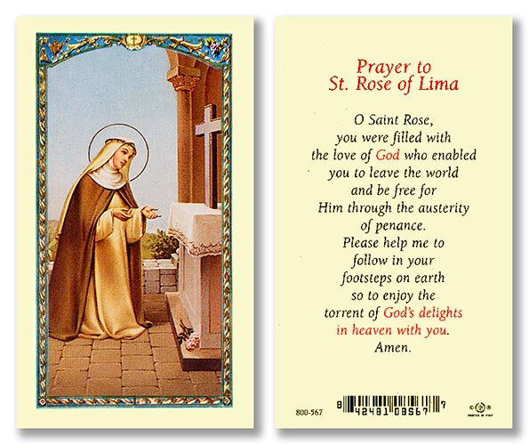 Prayer to Saint Rose of Lima Holy Card