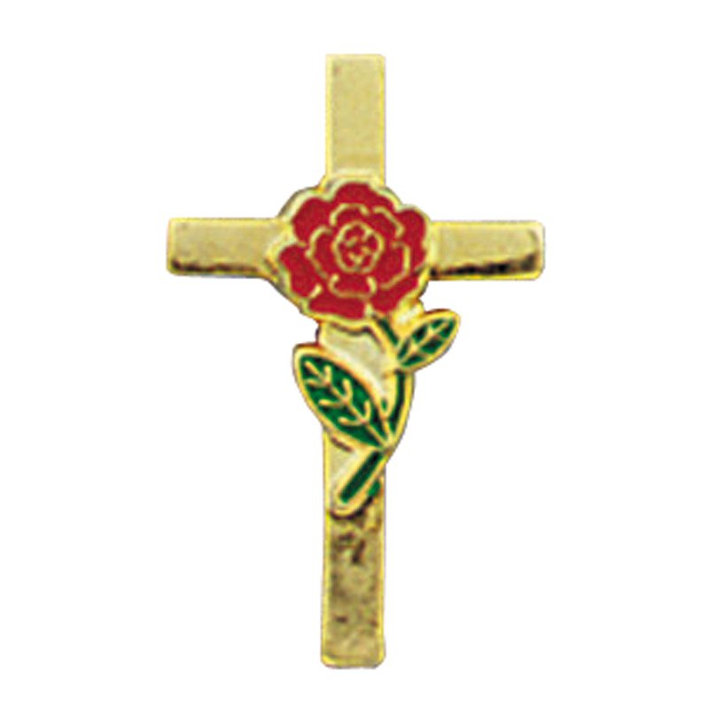 Rose Cross Lapel Pin - 25/pk