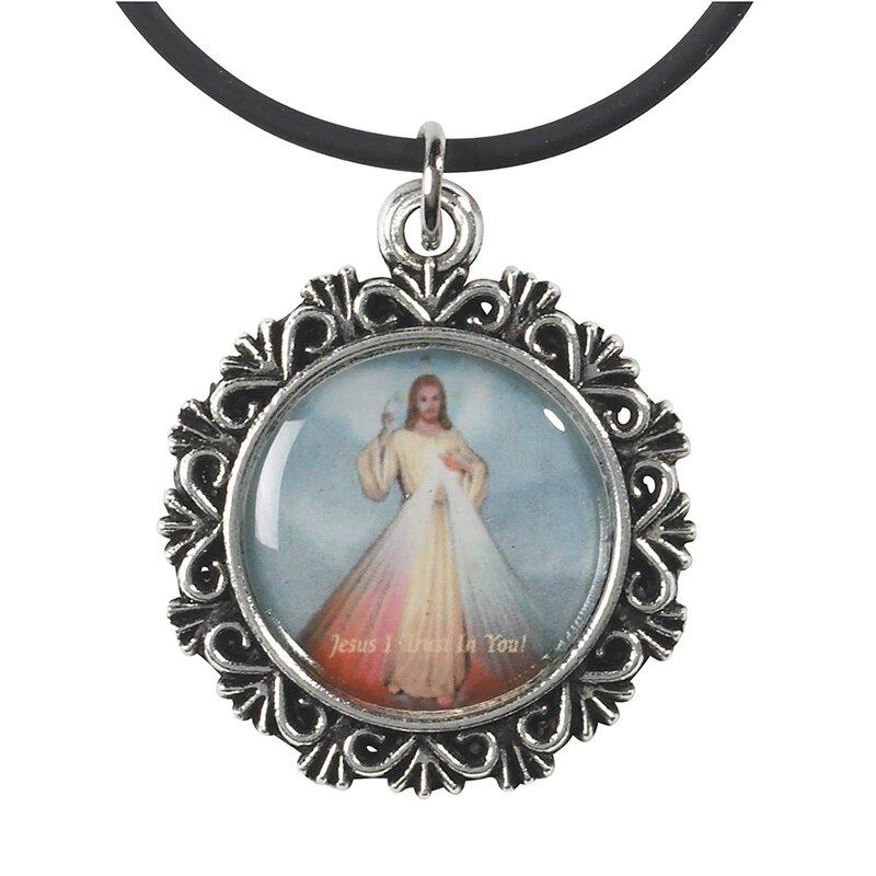 Religious pendant catholic jewelry cross pendant autom divine mercy epoxy pendant with rubber cord 24pk aloadofball Images