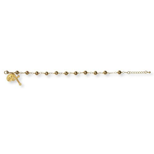 1st Communion Gold Bead Bracelet with 2 Charms - 4/PK
