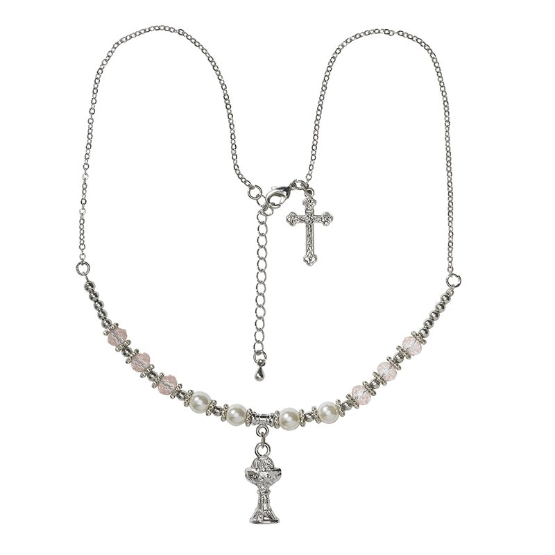 1st Communion Pearl/Pink Crystal Necklace with 2 Charms and Heart Toggle - 4/pk