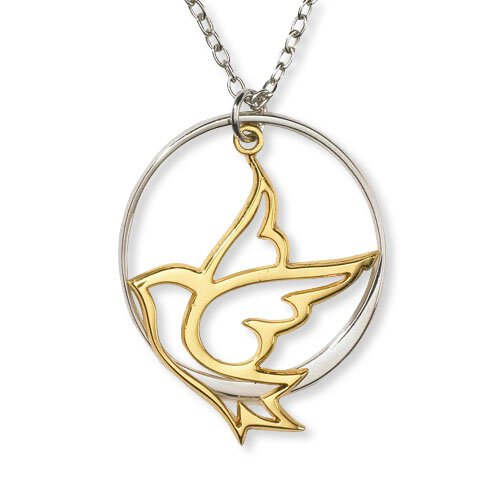 Two-Tone Cut Out Dove Necklace - 4/pk