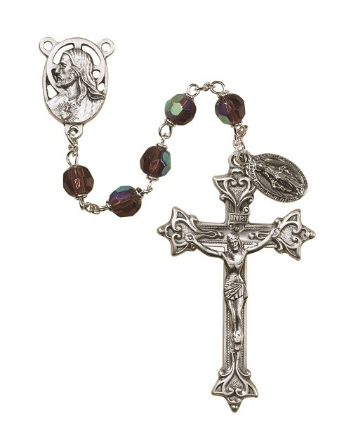 Prague Collection 7 mm AB Crystal Rosary - Amethyst