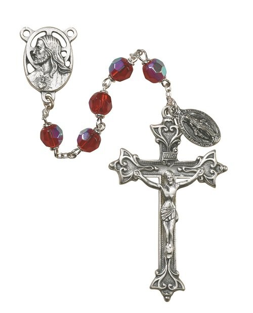 Prague Collection 7 mm AB Crystal Rosary - Ruby
