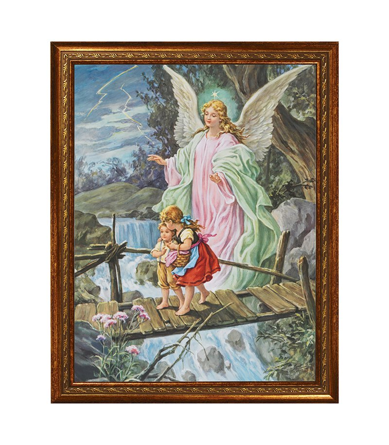 "14 x 18"" Guardian Angel Crossing Bridge Framed Print"