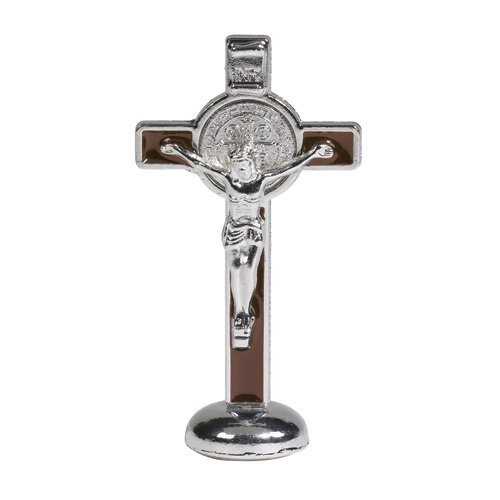 St. Benedict Crucifix Stand - Brown - 4/pk