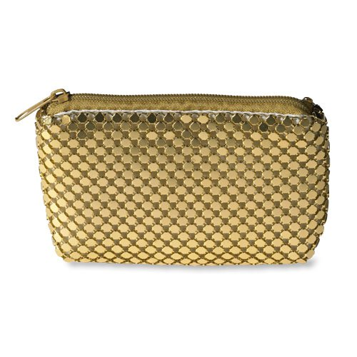 Gold Metal Mesh Zipper Rosary Case - 3/pk