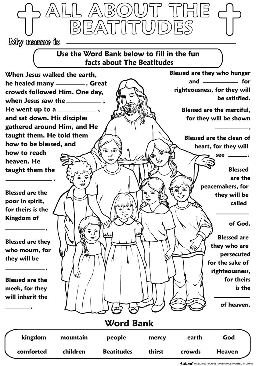 Coloring pages beatitudes - Color Your Own Poster The Beatitudes 50 Pk