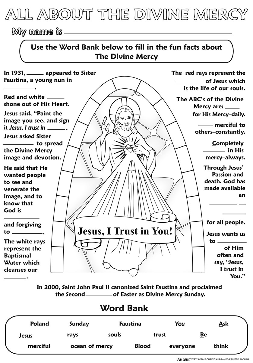Color Your Own Poster - Divine Mercy - 50/pk