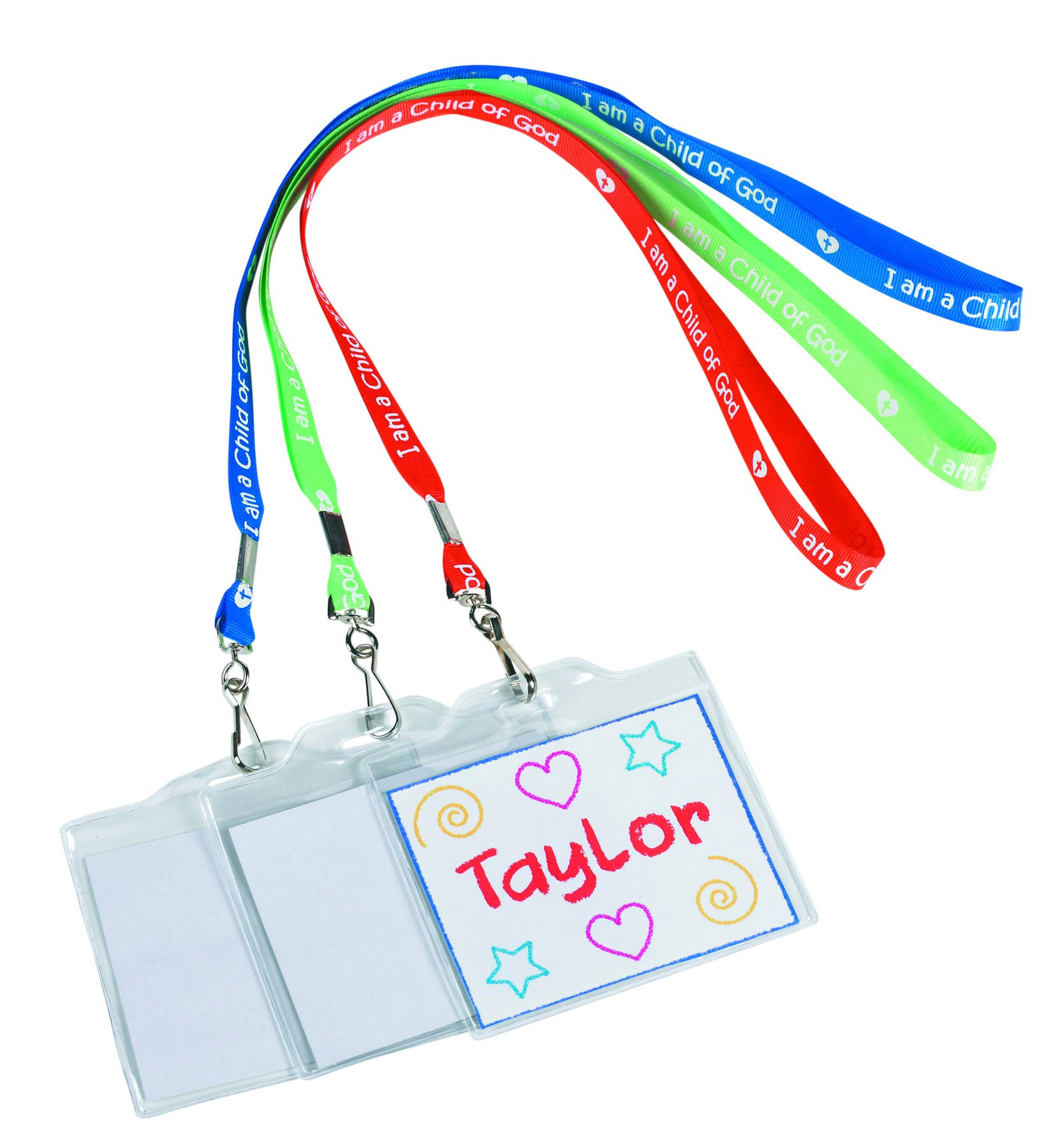 Color Your Own Name Badge with Lanyard Assortment (3 Asst) - 36/pk